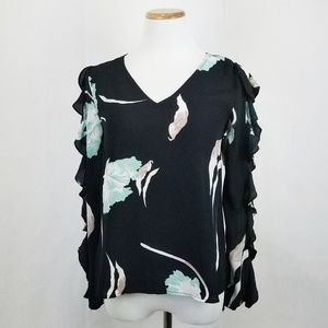 1. State Black Floral Ruffle Long Sleeve Top
